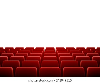 A movie theater stage with row of red seats, EPS 10 contains transparency and mesh.