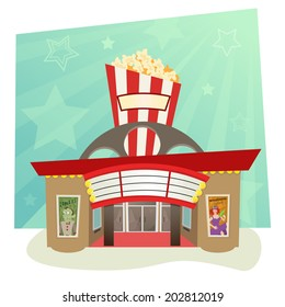Movie Theater - Stylized movie theater with stars in the background. Eps10