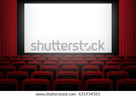 movie theatre background white screen red のベクター画像素材