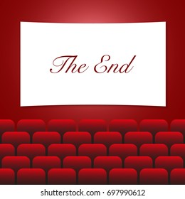 Movie theatre with THE END text on white screen, red curtains and chairs