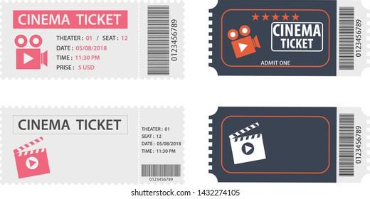 A movie ticket, a set of movie tickets. Vector illustration of cinema tickets.