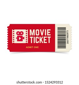 Movie ticket. Vector red cinema ticket isolated on white background.