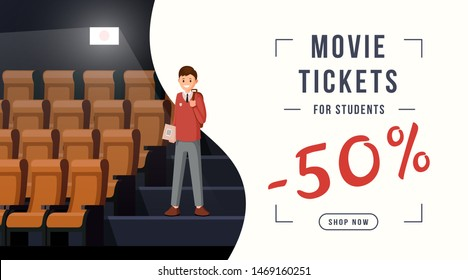 Movie tickets discount web banner. 50 percent discount for students, special price. Cinema invitation for pupils, teens, schoolchildren, movie theatre discount offer coupon design layout