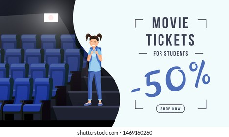 Movie tickets sale web banner template. Schoolkid visiting cinema with 50 percent ticket cost discount. Movie theater special price offer for college, university students, promo coupon, flyer design
