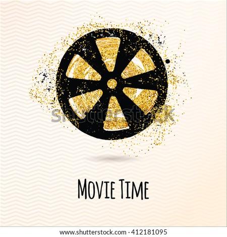 Movie Time Background Filmstrip Cinema Poster Stock Vector Royalty