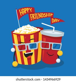 Movie time with cartoon popcorn and soda in red cup, friendship day illustration concept