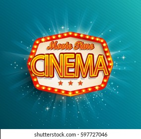 Movie time cinema premiere poster design. Shining retro light frame, vector illustration.