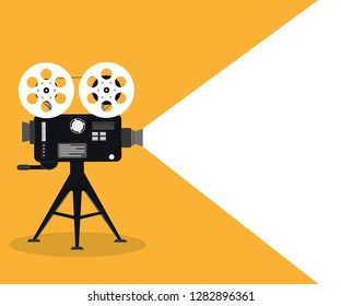 Movie time concept. Template for cinema poster, banner. Illustration of film projector