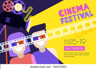 Movie time, date at the cinema concept. Vector cinema festival poster, flyer background. Abstract sale tickets banner background. Happy couple in 3d glasses, trendy flat illustration.