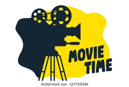 Movie time flat concept background. Cinema banner design