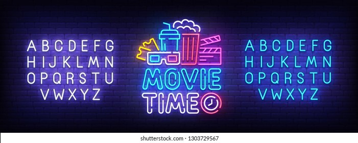 Movie Time neon sign, bright signboard, light banner. Cinema logo, emblem and label. Neon sign creator. Neon text edit