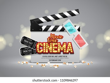 Movie time poster. Cinema banner with clapboard, tickets, popcorn and 3d glasses. Vector illustration.