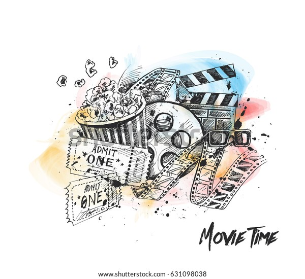 Movie Time Poster Hand Drawn Sketch Stock Vector (Royalty