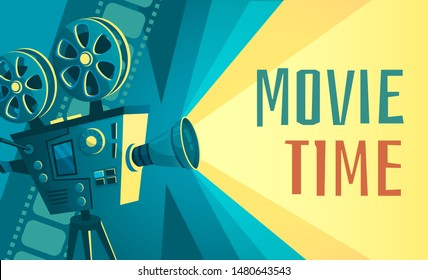 Movie time poster. Vintage cinema film projector, home movie theater and retro camera. Cinematography entertainment equipment, movies production festival banner vector illustration