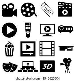 movie vector icon set. Cinema illustration symbol collection. entertainment sign or logo.