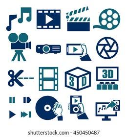 movie, video, icon set