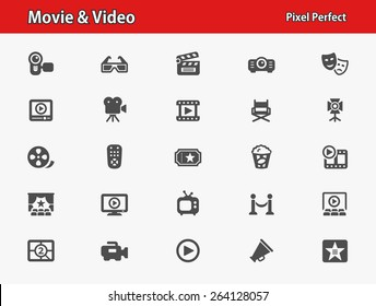 Movie & Video Icons. Professional, pixel perfect icons optimized for both large and small resolutions. EPS 8 format.