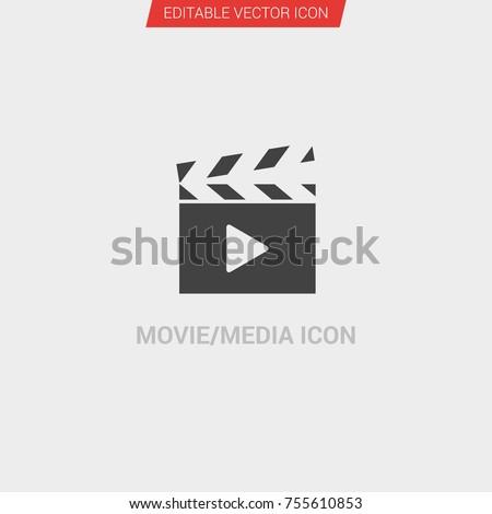 6990311666d7 Movie Media Icon Dark Grey New Trendy Stock Vector (Royalty Free ...