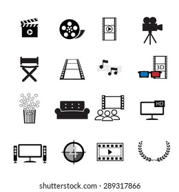 Movies cinema icons set vector