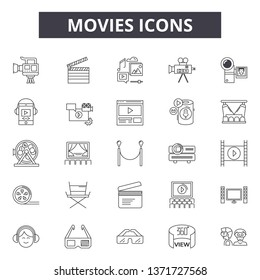 Movies line icons, signs set, vector. Movies outline concept, illustration: video,movie,entertainment,film,cinema,design