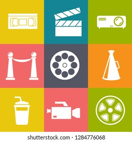 Movies vector illustration icon set. Included the icons as camera, film, awards, entertainment