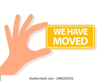 Moving Announcement. We have moved. Clipart image isolated on white background