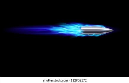 Moving Blue Fiery Gun Bullet Shot. Illustration on black