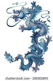 Moving up blue oriental dragon on a white background