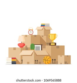 Moving with boxes to new home. Pile of stacked cardboard boxes. Vector stock illustration in flat style isolated on white background