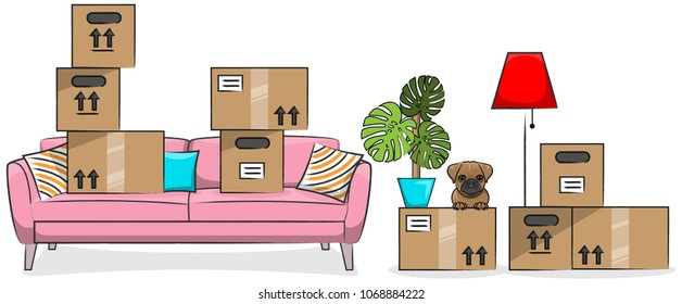 Moving boxes on a sofa with a cute dog