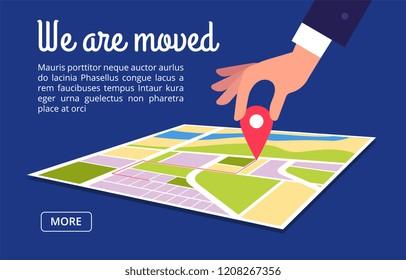 Moving concept. Changing address, new location on navigation map vector background. Illustration of we moved navigation banner