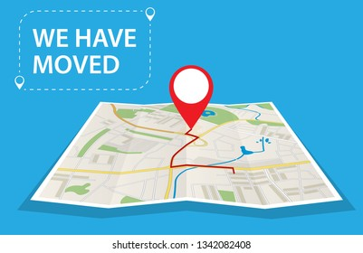 Moving concept. Changing address, new location on navigation map. Use for, landing page, template, ui, web, mobile app, poster, banner. Vector illustration in flat style