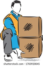 moving concept man lifting boxes vector illustration