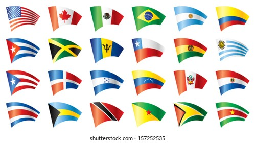 Moving flags set - America. 24 flags. JPEG version