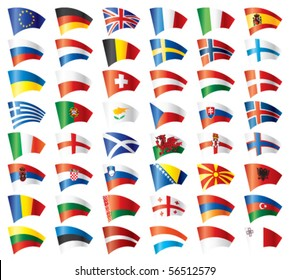 Moving flags set - Europe.  48 Vector flags.