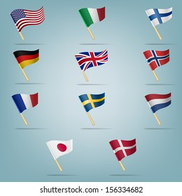 Moving flags set. Vector illustration