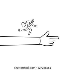 Moving forward. Vector illustration of businessman running to goal on showing hand | modern flat design linear concept icon and infographic black on white background