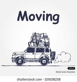Moving. Hand drawn sketch illustration isolated on white background