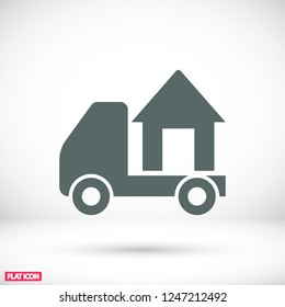 Moving home concept. A truck transporting a house.  icon. Vector  Eps 10