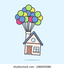 Moving house by flying with balloon cartoon vector illustration in flat rounded style