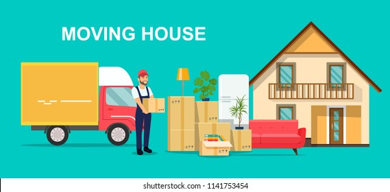 Moving House. Man with cardboard boxes and furniture. Vector flat style illustration