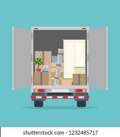 Moving House. Open delivery truck with furnitures and cardboard boxes. Isolated on blue background. Transport services and freight of goods. Flat style, vector illustration.