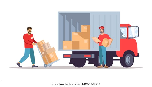 Moving house service flat vector illustration. Post office workers loading cardboard boxes into truck. Deliverymen planning parcels shipment isolated cartoon character on white background