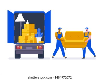 Moving house service. Moving with sofa and various boxes to new home. Pile of stacked cardboard boxes. Vector stock illustration in flat style.