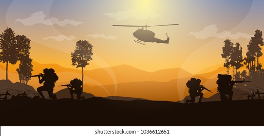 Moving injured person, Artillery silhouettes vector illustration, Military vector illustration, Army soldiers, Military silhouettes background.
