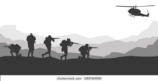 Moving injured person, Military vector illustration, Army background, soldiers silhouettes, Artillery, Cavalry, Airborne, Army Medical.