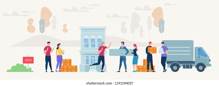 Moving into new House Concept. People have Relocation in new place. Things in Box in Truck set. Moving Furniture with Transport. Flat style Design. Vector Cartoon Illustration.