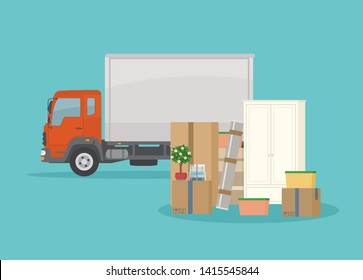 Moving into new House. Delivery truck, furnitures and cardboard boxes. Isolated on blue background. Transport services and freight of goods. Flat style, vector illustration.