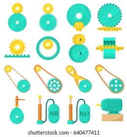 Moving mechanisms icons set. Cartoon illustration of 16 moving mechanisms vector icons for web