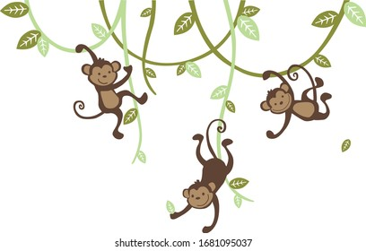 Moving Monkey. For the baby room, playground, nursery room, bedroom. Graphic design lifestyle, vector for cutting, wall decals, interior, vector, design, sticker, decals, decorative